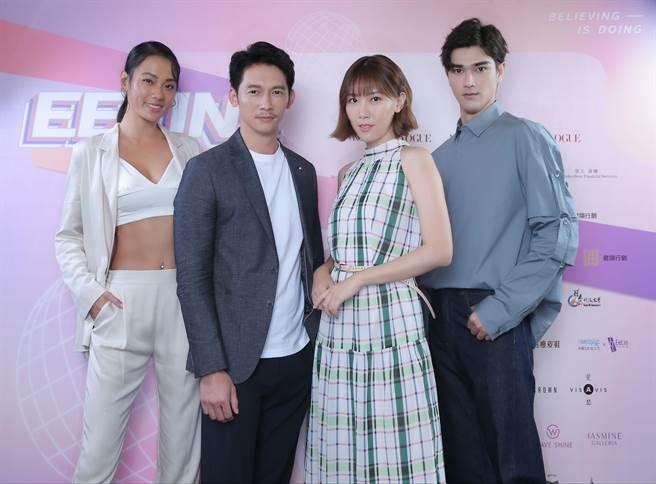 王麗雅、溫昇豪、李懿、李制益為2020伊林璀璨之星宣傳造勢。(伊林娛樂提供)