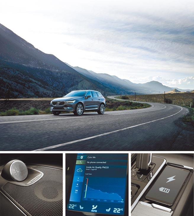 21年式VOLVO XC60動力、節能及駕乘舒適性全面升級,售價215萬元起。下方圖示由左至右:Bowers & Wilkins音響系統、APMS即時空氣品質監測、手機無線充電板。(國際富豪汽車提供)