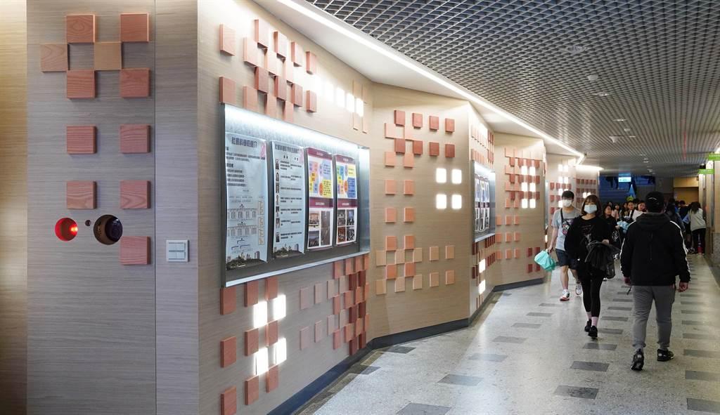 文大大成館以中華文化特色的印章作為設計概念,為大成館「落款」,別具特色。(文大提供/李侑珊台北傳真)