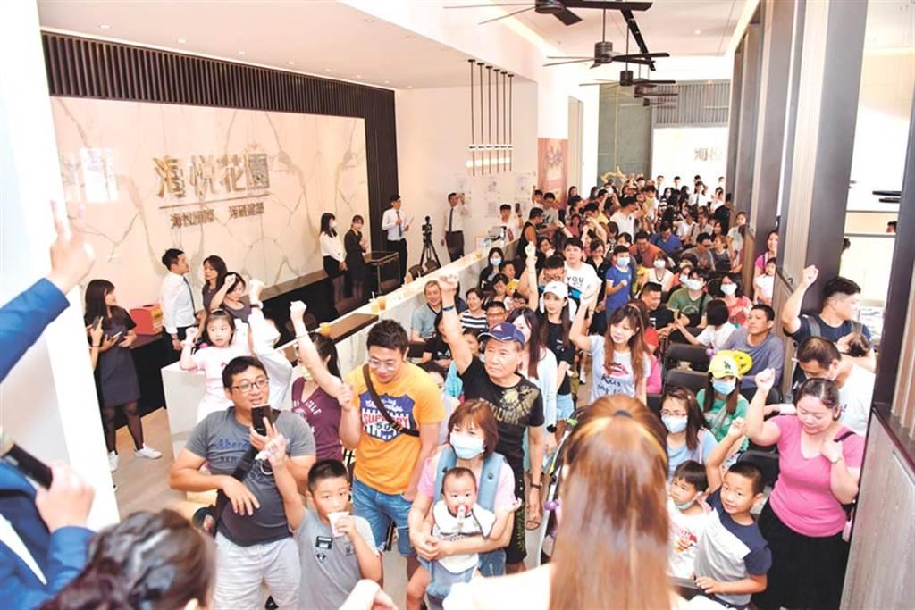北台灣全年預估推案量可望創下史上第2大量,圖為今年推出即秒殺完銷的「新莊海悦花園」現場。(業者提供)
