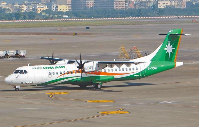 立榮航空B7-9051軍包機昨飛往東沙島途中,進入香港飛航情報區前,被告知2萬6000呎以下有「危險活動」,20年來首度被禁入,原機被迫折返。圖為立榮同款螺旋槳飛機。(立榮提供)