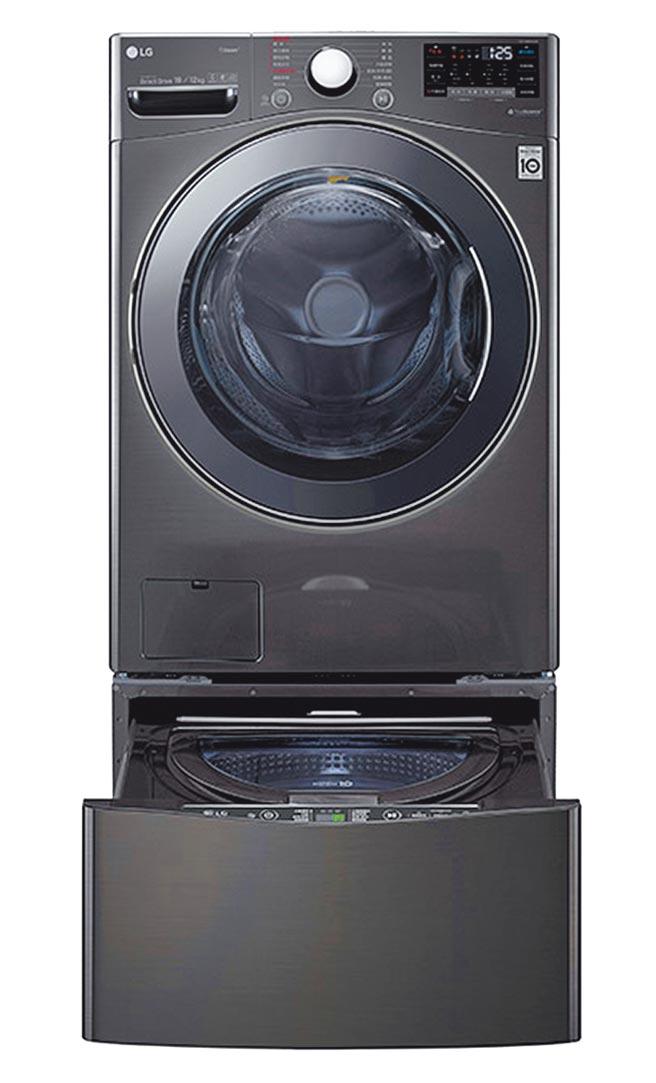 比漾廣場LG WiFi TWINWash雙能洗(蒸洗脫烘),19公斤+2.5公斤洗衣容量,8萬9800元,滿萬送千後,比漾獨家加贈1000元贈品券,限量5份。(比漾廣場提供)