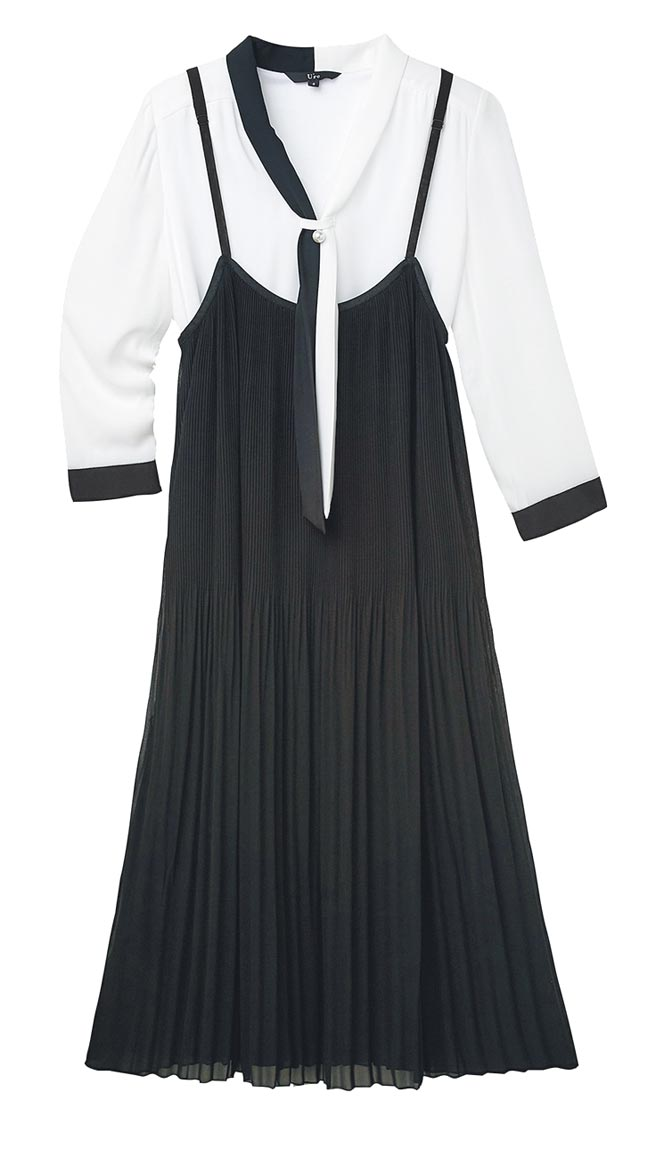 比漾廣場U're七分袖雪紡上衣+絲質連身裙,原價2880元+3280元、特價2304元+2624元。(比漾廣場提供)