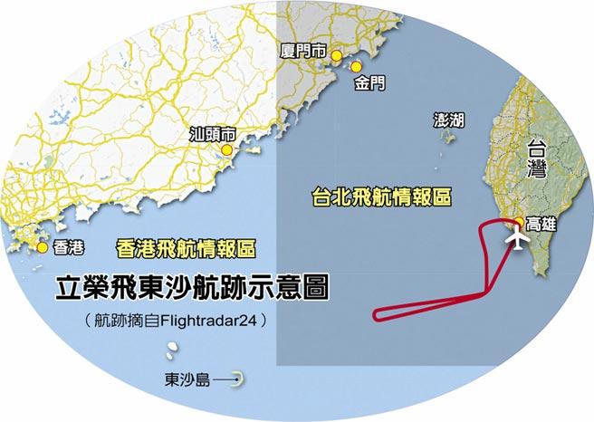立榮飛東沙航跡示意圖(航跡摘自Flightradar24)