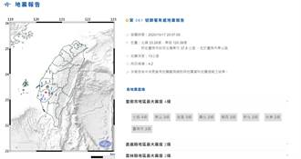 台南天搖地動!晚間8點7分規模4.2地震 最大震度4級