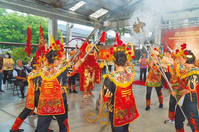 2020蘭陽媽祖文化節將於23日登場,宜蘭縣府16日在中興文創園區舉行火神陣暨授旗儀式。(宜蘭縣政府提供/胡健森宜蘭傳真)