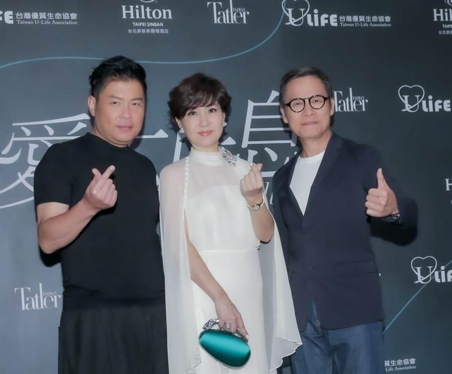 曾国城(左起)、方芳芳、罗大佑9月一起出席2020 爱不止息慈善晚会。(卢祎祺摄)