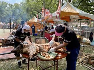 南投首屆烤豬王大賽在茶博 免費試吃香氣爆棚