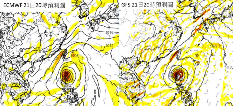 歐美模式模擬顯示,周三四熱帶擾動在呂宋島附近,將與東北風產生「共伴效應」,挾帶更多的水氣。(圖擷自tropical tidbits)