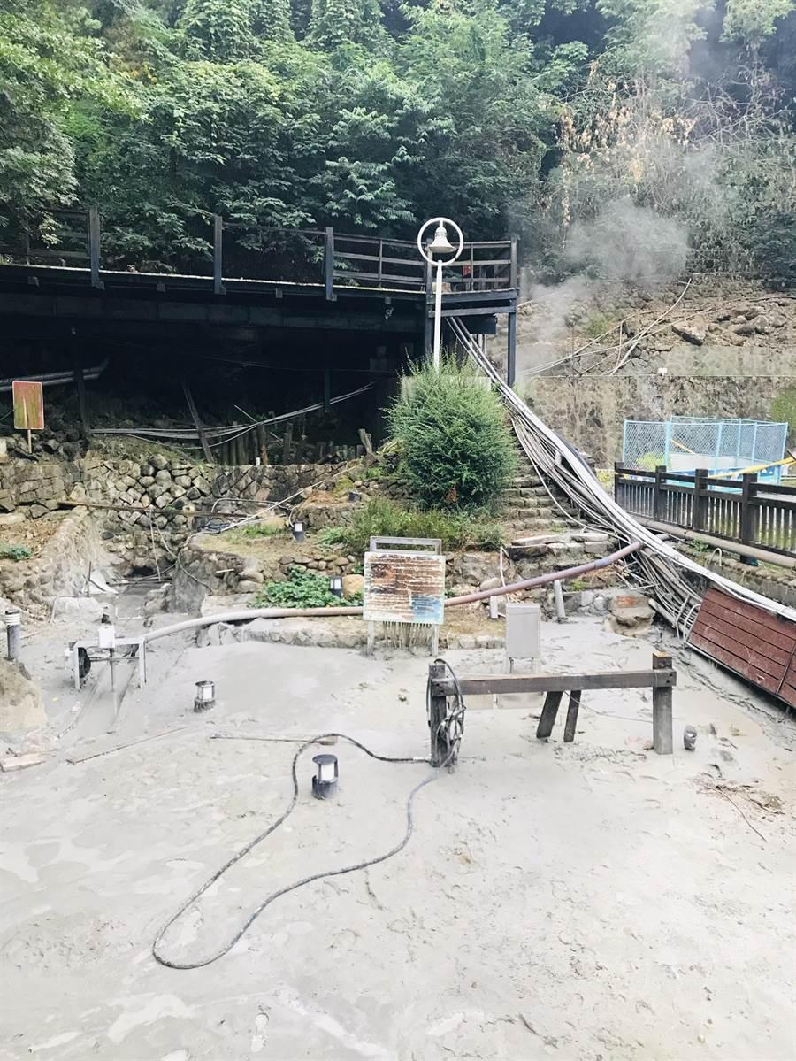 台南白河關子嶺溫泉露頭位移,出水量大增。(台南市觀旅局提供/劉秀芬台南傳真)
