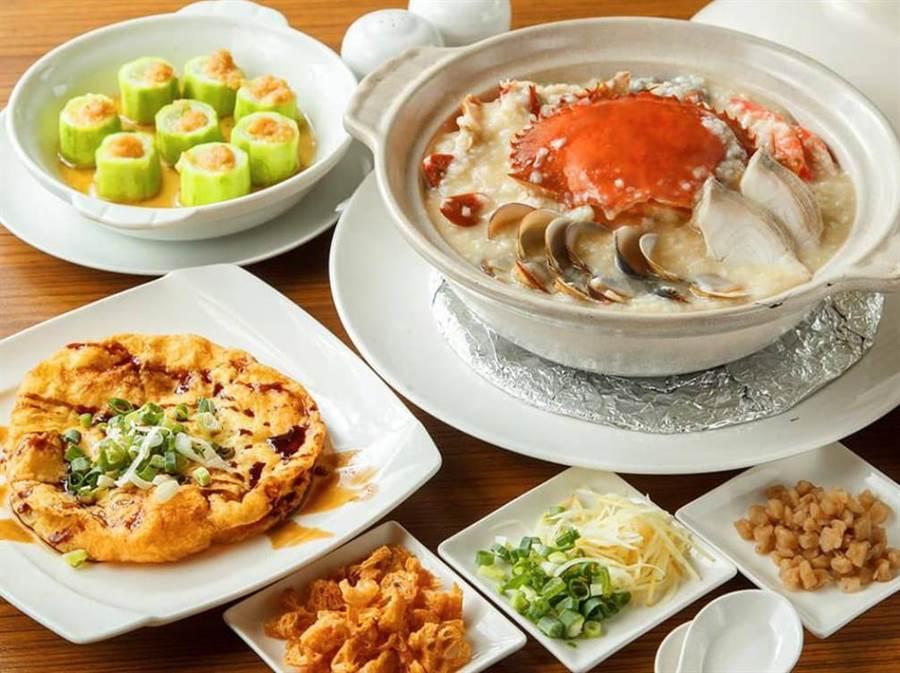 螃蟹米皇干貝粥雙人分享餐。(北投南豐天玥泉溫泉會館提供)