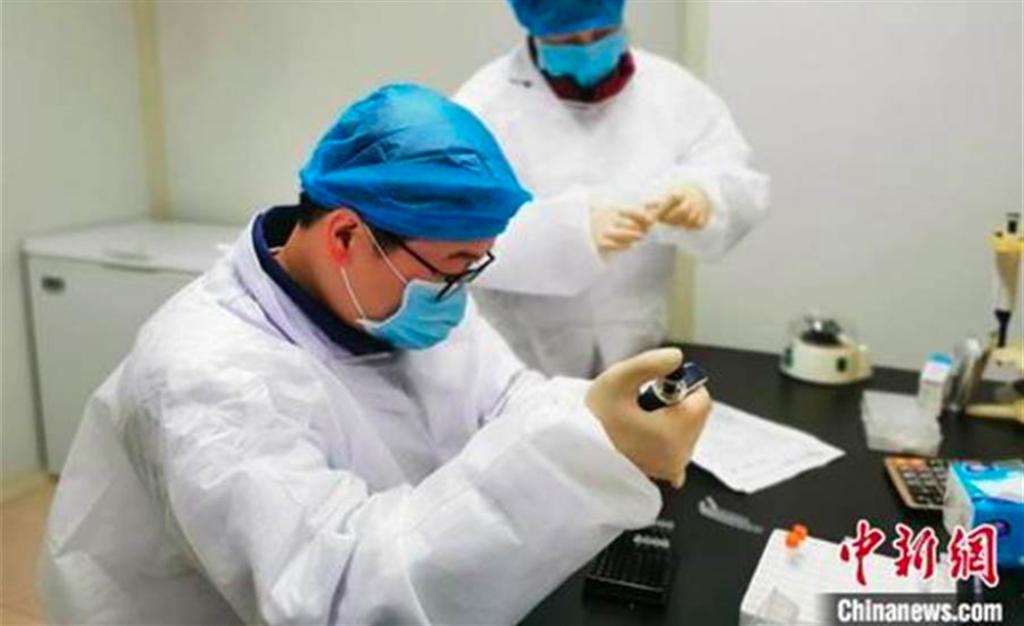 青島疫情傳染源為大港兩名工人,住院時與其他患者共用CT室引發。圖為醫檢人員正在檢驗核酸。(中新網)