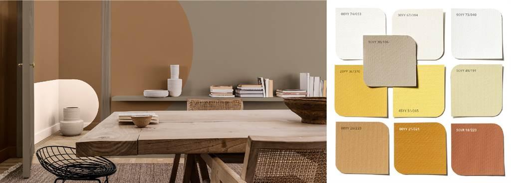 以大地棕搭配的「傳承」主題色盤十分適合藤蔓、竹編等天然素材的家居。圖片來源/21世紀不動產提供