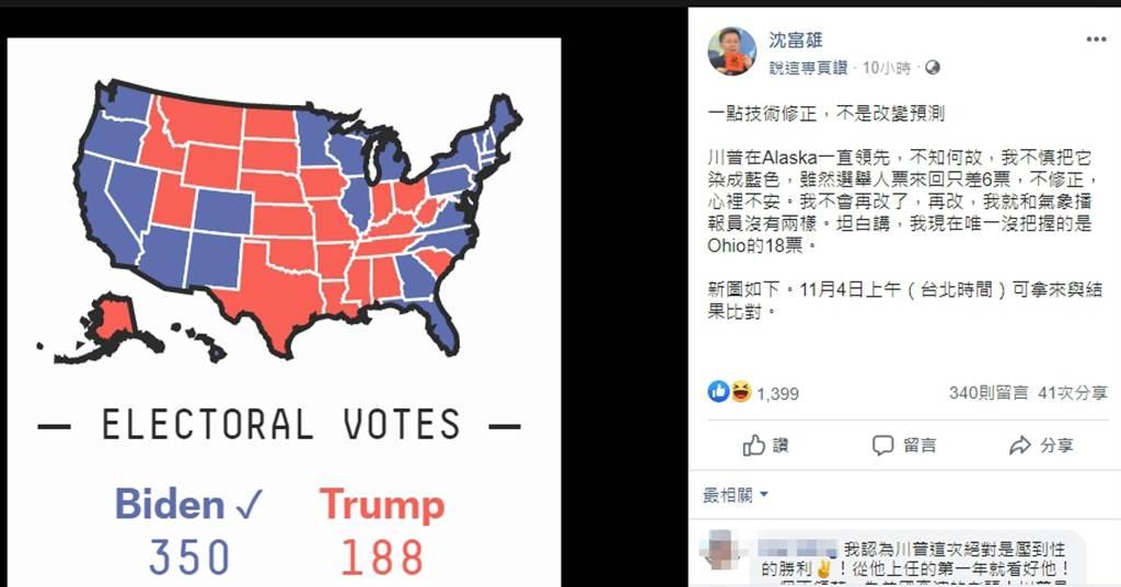 前民進黨立委 沈富雄,臉書預測美國總統大選最終結局。(圖/翻攝自 沈富雄臉書)