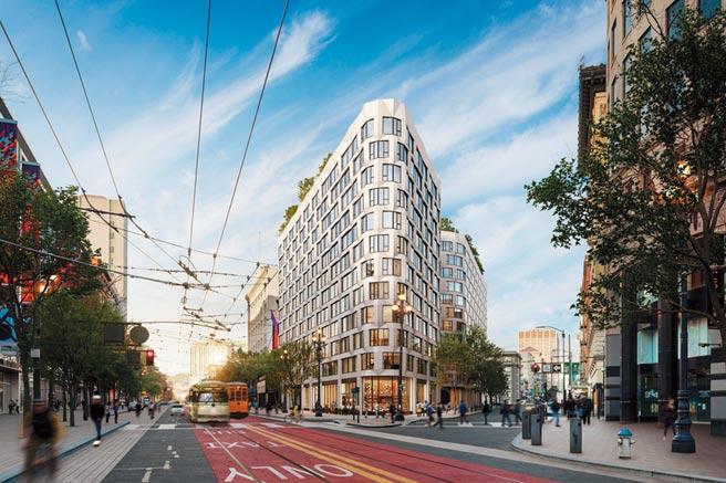 大陸建設跨足美國市場,在舊金山推出結合飯店、精品商城與住宅的「尚芮公寓SERIF」。圖/業者提供