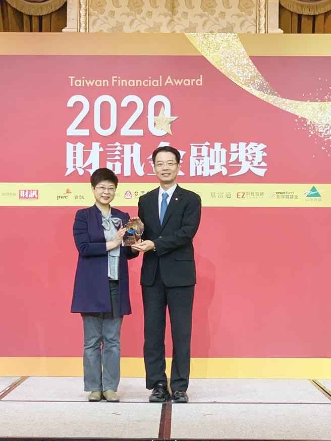金融消費評議中心董事長林志潔(左)頒獎給群益投信總經理陳明輝(右)。圖/群益提供