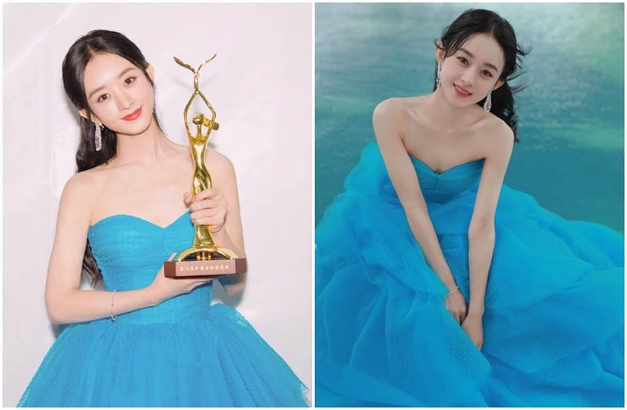身穿藍色澎裙的趙麗穎,舉手投足絕美、優雅。(圖/取材自趙麗穎、趙麗穎工作室微博)
