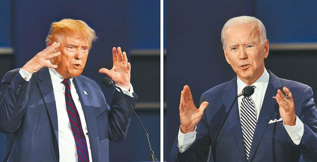 美國2020總統大選最新民調出爐。圖為 共和黨總統川普(左)與民主黨候選人拜登(右),將在美東時間22日晚間9時登場,進行最後一次辯論會,再度受到關注。(圖/美聯社)