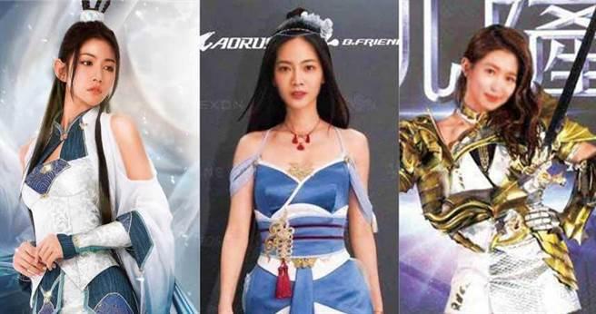 李千那(左)、曾之喬(中)、郭書瑤(右)這3位演藝圈中讓人眼睛一亮的美女們,都曾經為電玩遊戲代言,裝扮更是令人印象深刻。