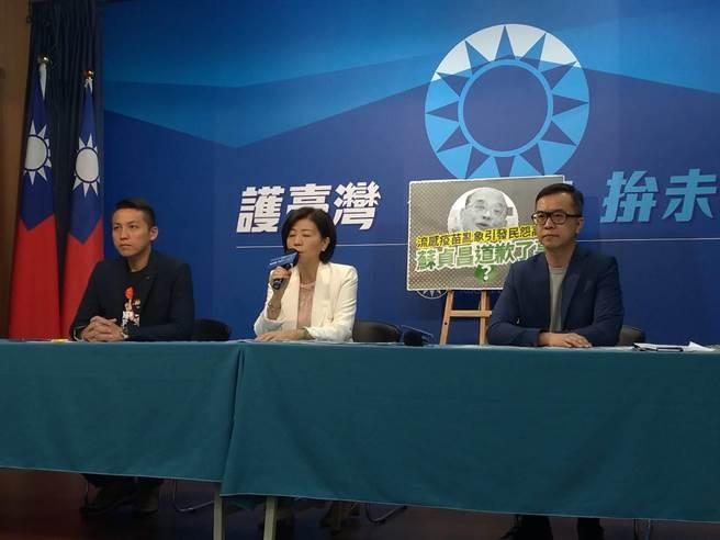 陳偉杰(左起)、王育敏及黃子哲上午開記者會。(黃福其攝)