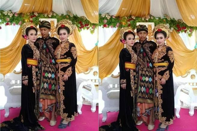 艾哈邁娶兩妻,大老婆(左)臉臭到不行(圖片取自/tribunnews)