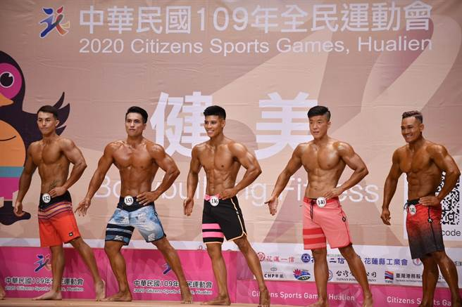 男子形體組分五級,來自全國健美好手展現最佳體態、肌肉感。(王志偉攝)