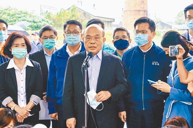 行政院長蘇貞昌19日赴宜蘭,對於當初沒有先將疫苗分配次序、節奏弄好一事表達歉意。(李忠一攝)