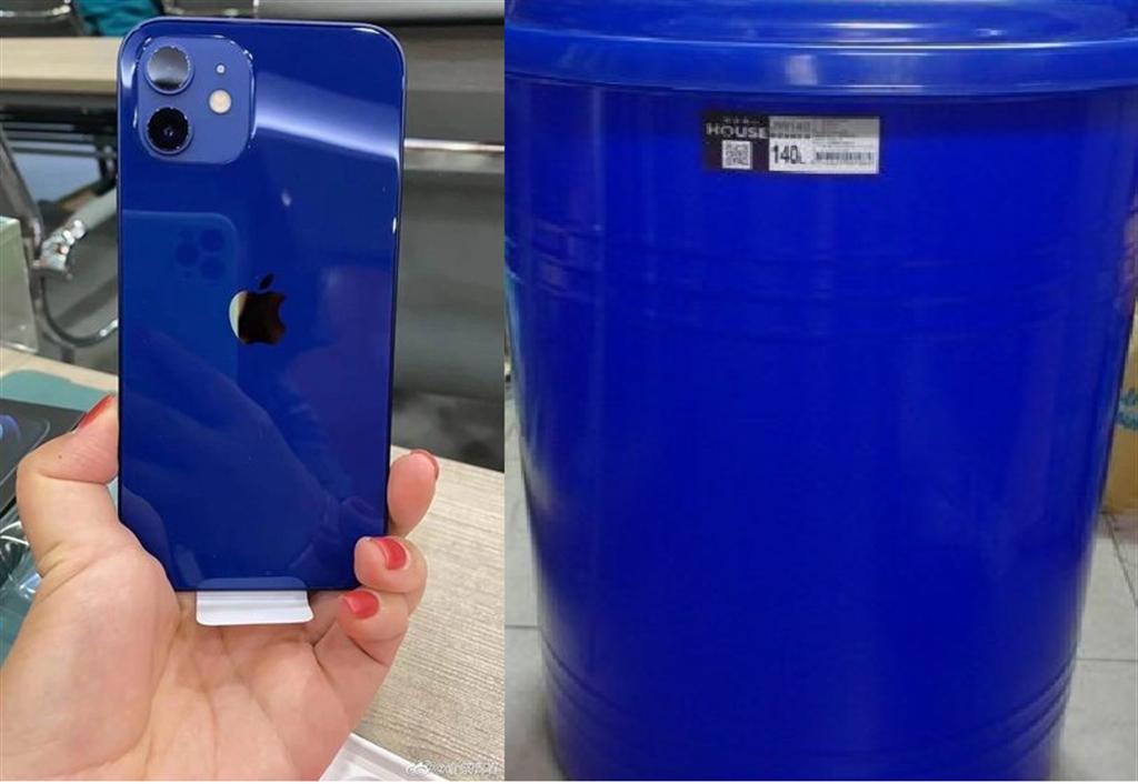 網友指出iPhone12藍色的塑膠感很重,像垃圾桶。(左圖翻攝自微博/右圖翻攝自PTT)