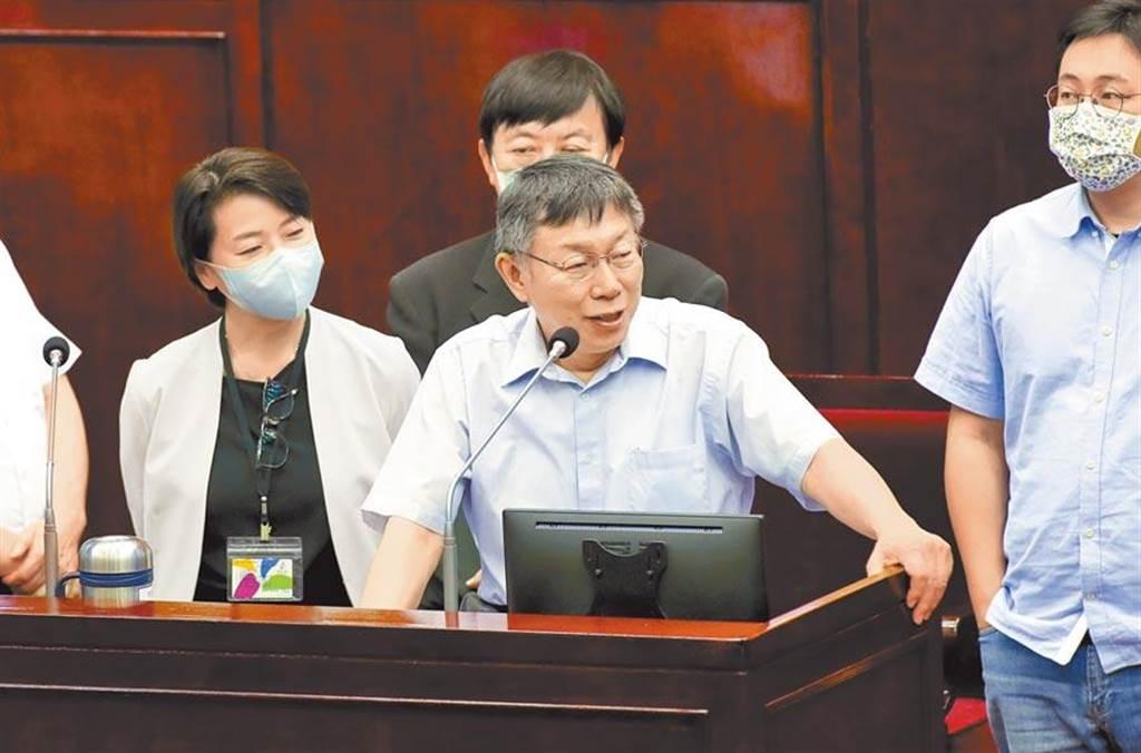 對於中天關台傳言不斷,台北市長柯文哲對民進黨呼籲應依法行政。(本報資料照片)