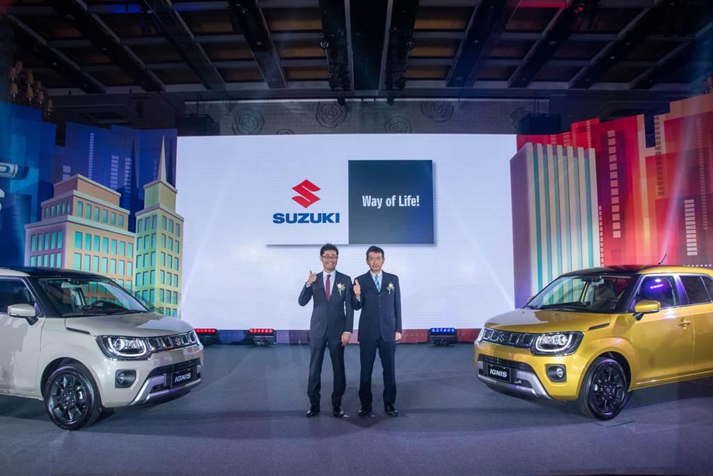 IGNIS馭電進化 SUZUKI首部HYBRID車款68萬起開賣,圖為TAIWAN SUZUKI董事長鈴木忠臣(右)、副總經理高橋淳(左)。