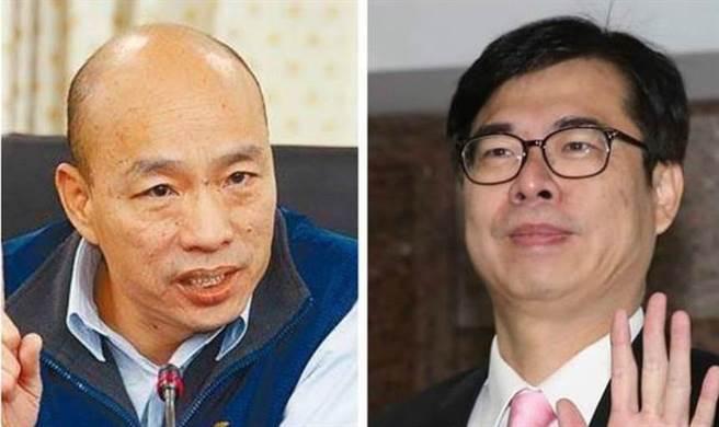 高雄市前市長韓國瑜(左)、高雄市現任市長陳其邁(右)。(合成圖/中時資料照)