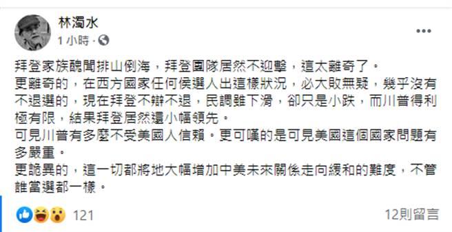 林濁水21日在臉書評論美國大選。(圖/翻攝自 臉書)