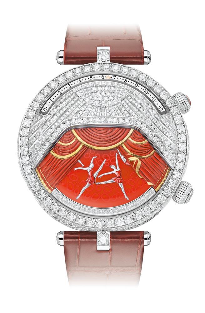梵克雅寶Lady Arpels Ballerine Musicale腕表紅寶石款,主題音樂是史特拉汶斯基的《鋼琴和管弦樂隊隨想曲》,1390萬元。(Van Cleef & Arpels提供 )
