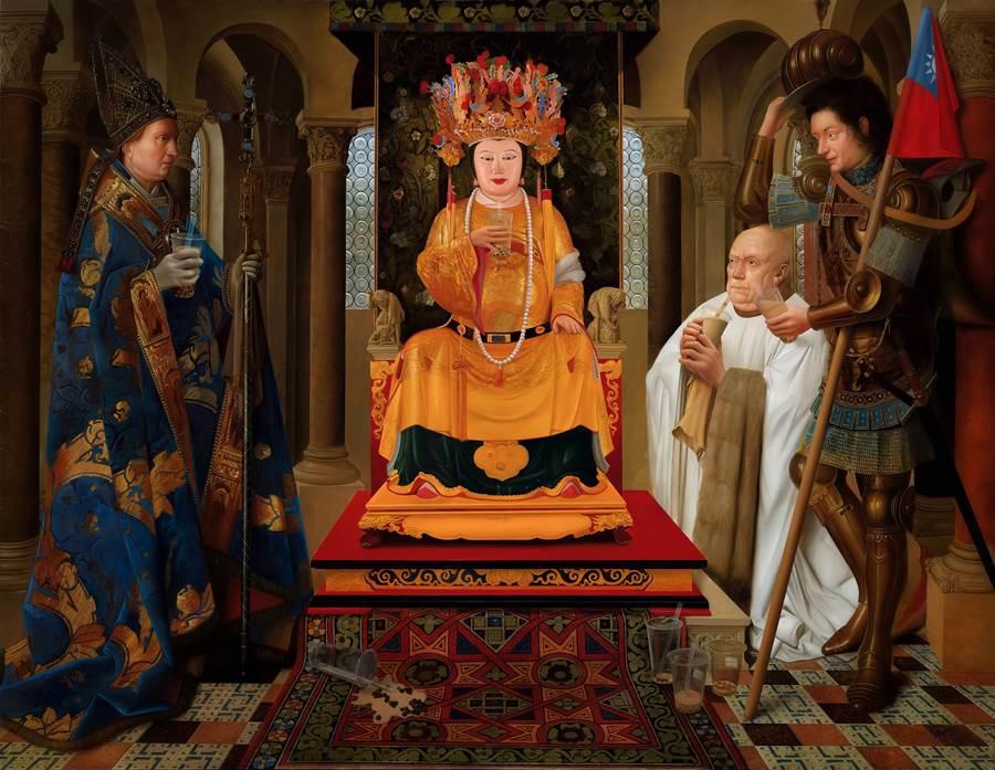 盧昉新作《大家都愛珍奶》將原畫的聖母瑪麗亞換成王母娘娘仍不失和諧度。(多納藝術提供)