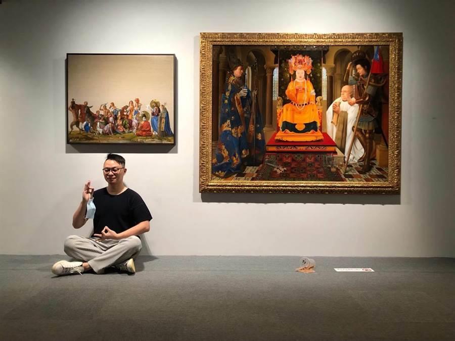 盧昉新作以宗教為題,展現台灣社會看似衝突卻和諧共融的包容性。(多納藝術提供)