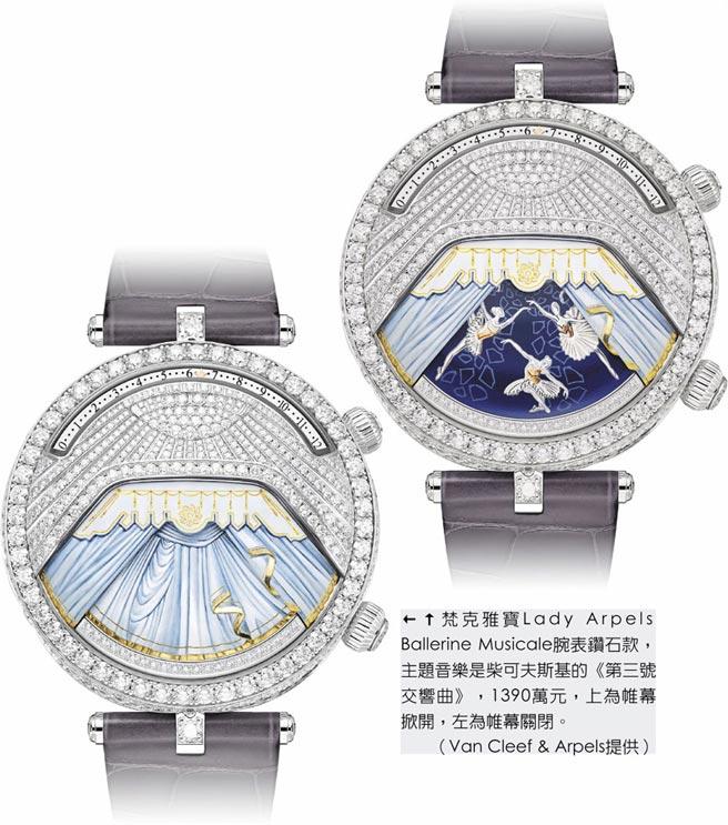 梵克雅寶Lady Arpels Ballerine Musicale腕表鑽石款,主題音樂是柴可夫斯基的《第三號交響曲》,1390萬元,上為帷幕掀開,左為帷幕關閉。(Van Cleef & Arpels提供)