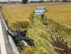 汽機車相撞飛入田 無照少年肝臟破裂有生命危險