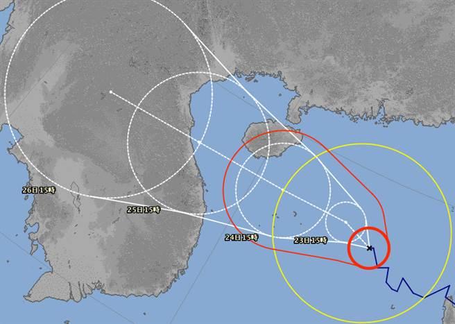沙德爾轉中颱,未來將朝海南島附近前進。(翻攝日本氣象廳)