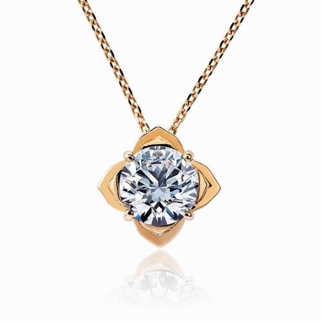 JOY COLORi「玫瑰」鑽石鍊墜,主石為0.75克拉鑽石,7萬元。(JOY COLORi提供)