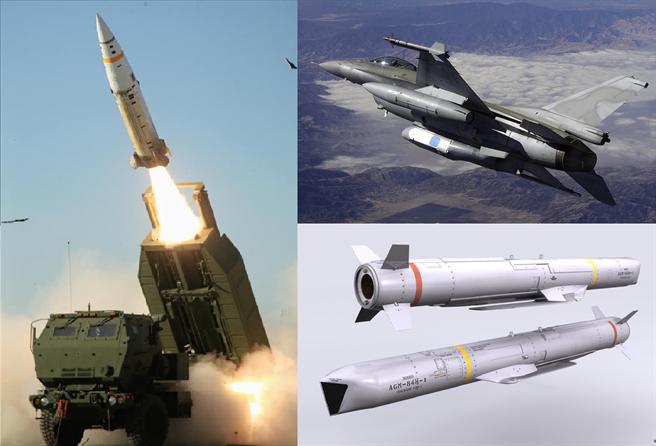 美新增3項對台軍售:增程型距外陸攻飛彈(右下)、海馬斯多管火箭系統(左)與F-16新式偵照莢艙(右上)。(圖/梅復興臉書、Akela Freedom)