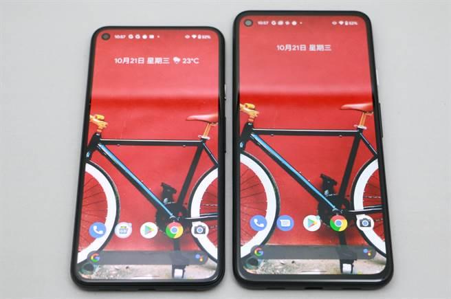 Google Pixel 5(左)以及Pixel 4a 5G,是Google首度推出的5G手機。(黃慧雯攝)