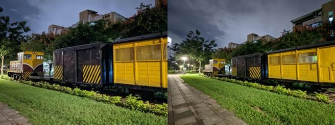 Pixel 5廣角對比超廣角鏡頭對比的夜間實拍。(黃慧雯攝)