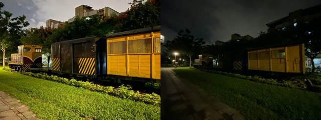 iPhone 11 Pro Max廣角對比超廣角鏡頭對比的夜間實拍。(黃慧雯攝)