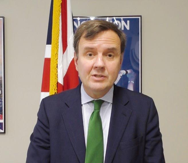 英國貿易政策部長韓斯(Greg Hands)在專訪中表示,英國將協助台灣離岸風電產業本土化。圖/英國在台辦事處提供