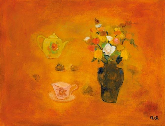 2010 玫瑰下午茶 130×100cm 油彩 畫布。(黃騰輝提供)