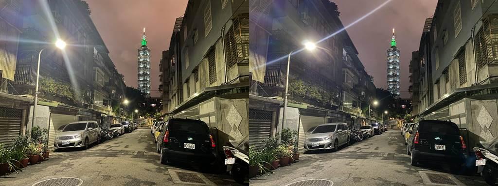 iPhone 12(左)與iPhone 11拍攝直射光源的測試比較。(Anfernee Shih提供/黃慧雯台北傳真)