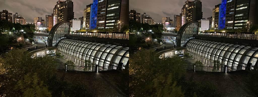 iPhone 12(左)與iPhone 11拍主鏡頭夜景模式比較(1)。(Anfernee Shih提供/黃慧雯台北傳真)