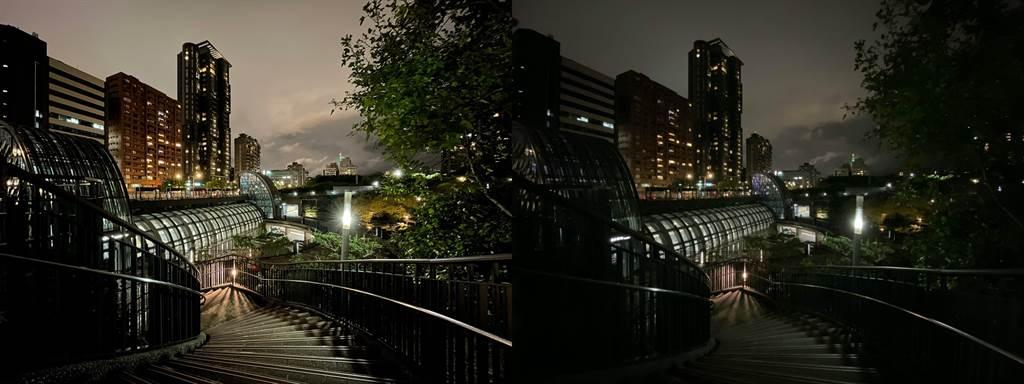 低光源下,iPhone 12(左)以及iPhone 11夜景模式比較(1)。(Anfernee Shih提供/黃慧雯台北傳真)
