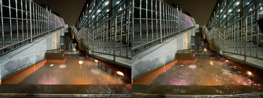 低光源下,iPhone 12(左)以及iPhone 11夜景模式比較(3)。(Anfernee Shih提供/黃慧雯台北傳真)