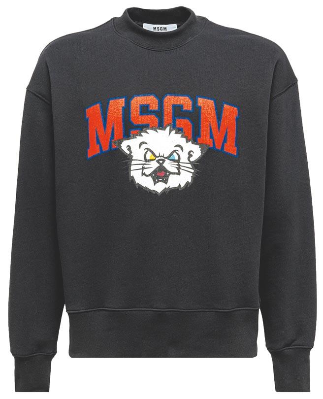 MSGM九命怪貓logo大學衫9300元。(藍鐘提供)